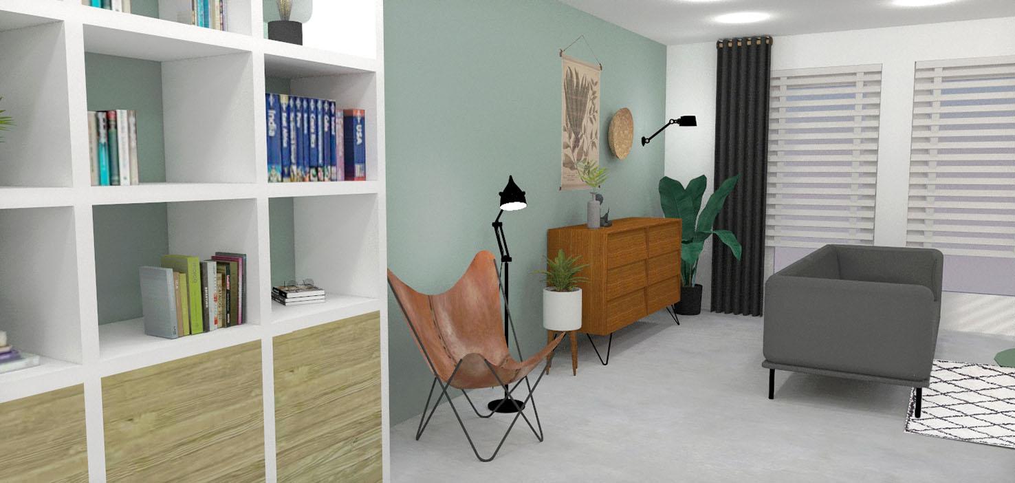 nieuwbouwhuis interieurontwerp interieuradvies styling 3d visualisatie Mierlo woonkamer kast