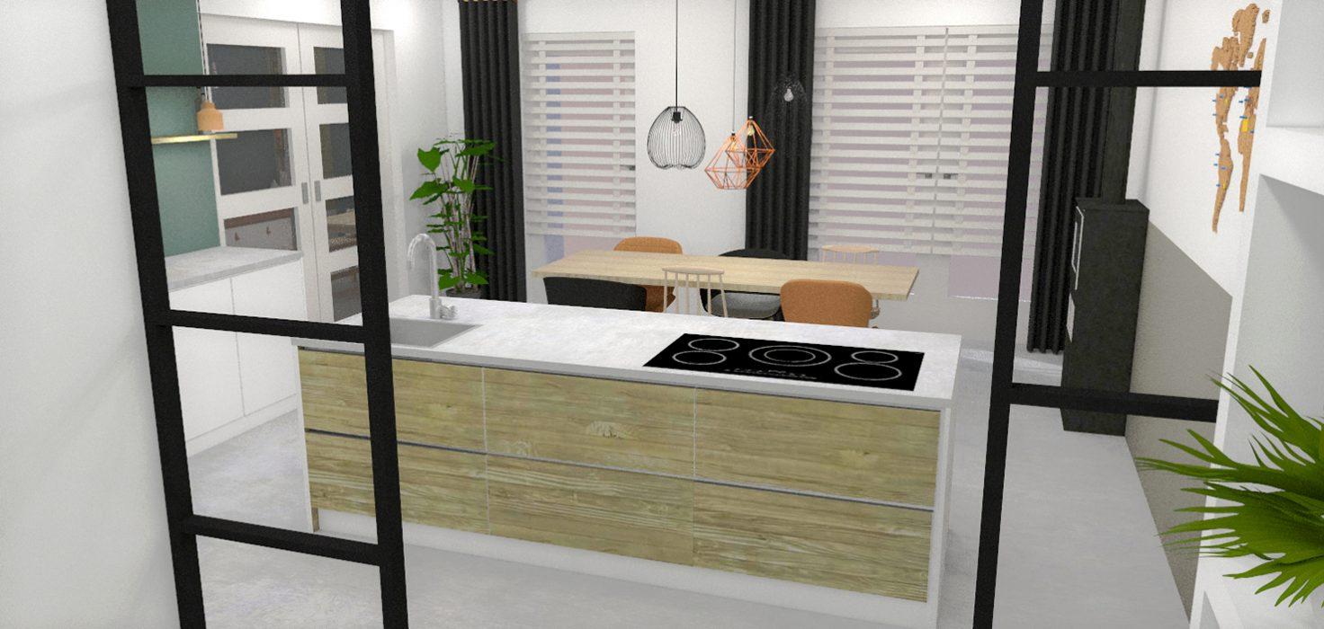 keuken nieuwbouwhuis interieurontwerp interieuradvies styling 3d visualisatie Mierlo stalen deuren