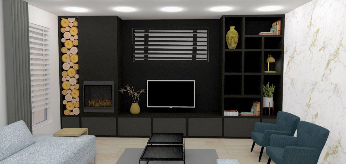Huiskamer maatkast maatwerk interieurontwerp binnenhuisarchitect drunen elshout kast op maat 3d visualisatie