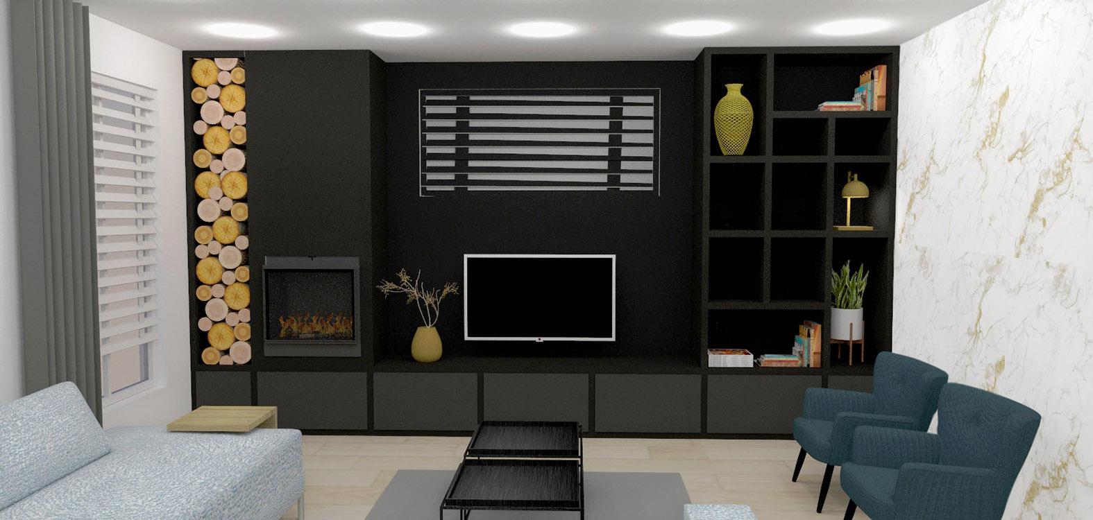 Huiskamer interieurontwerp binnenhuisarchitect drunen elshout kast op maat 3d visualisatie