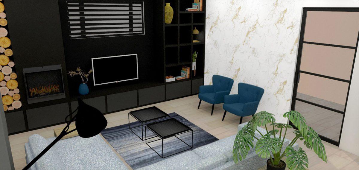 Huiskamer maatkast maatwerk interieurontwerp binnenhuisarchitect drunen elshout styling 3d visualisatie